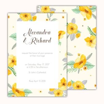 手で飾られた結婚式の招待状には、黄色の花を描い
