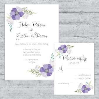 Wedding invitation decorated with purple flowers