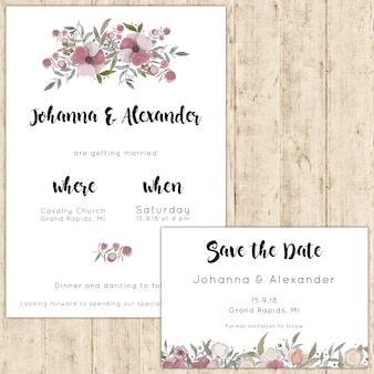 Wedding invitation decorated with watercolor flowers