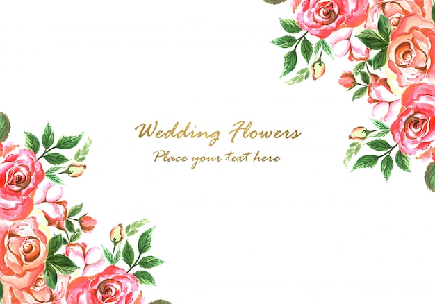Wedding invitation decorative flowers card design