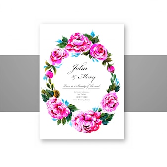 Wedding invitation decorative flowers frame card template