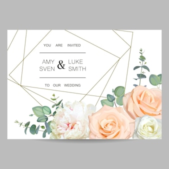 Wedding invitation. design of floral card with crystal frame
