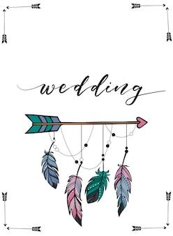 Wedding invitation design in boho style