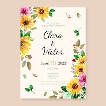 Modello di progettazione dell'invito di nozze con illustrazione botanica