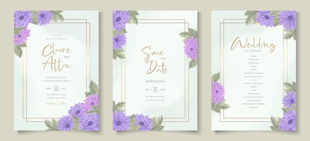 菊の花の飾りが美しい結婚式の招待状のデザイン
