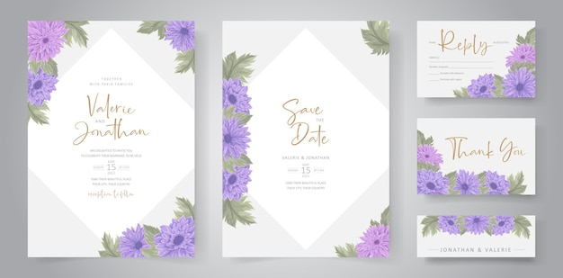 カラフルな菊の花飾りを使った結婚式招待状のデザイン