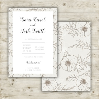 Wedding invitation design with elegant floral pattern