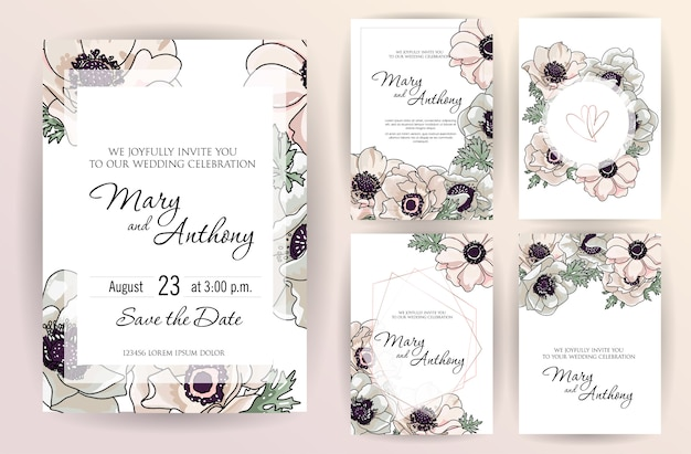 Wedding invitation design with gently powder pink anemone flowers