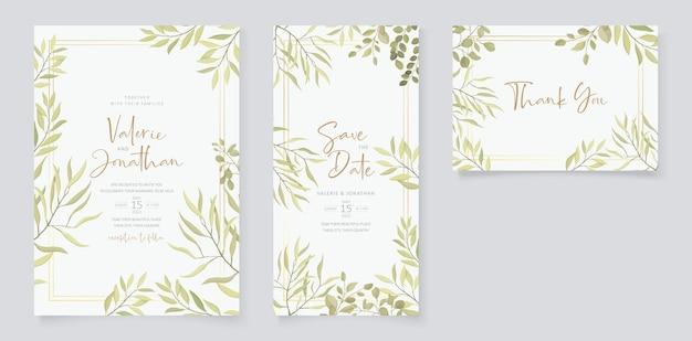 Дизайн свадебного приглашения с орнаментом из листьев