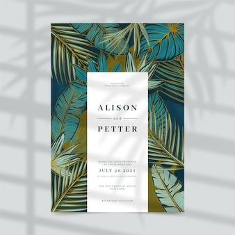 Wedding invitation design with leaves