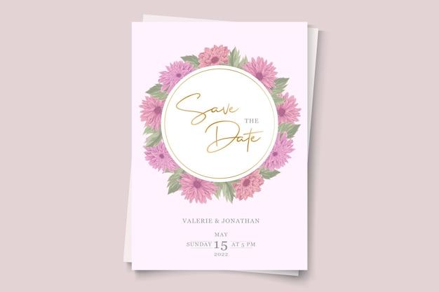 ピンクの菊の花飾りを使った結婚式の招待状のデザイン