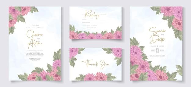 ピンクの菊の花と結婚式の招待状のデザイン