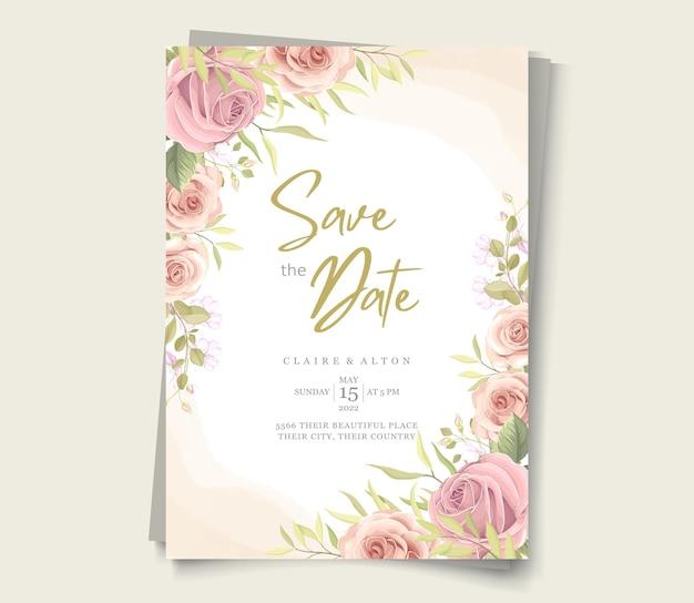 ピンクのバラの結婚式の招待状のデザイン