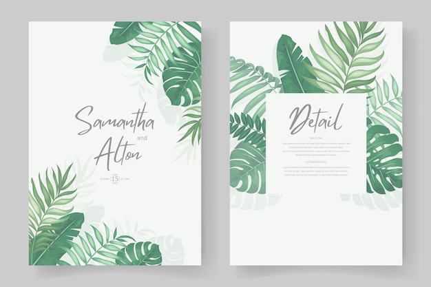 熱帯の葉をテーマにした結婚式の招待状のデザイン