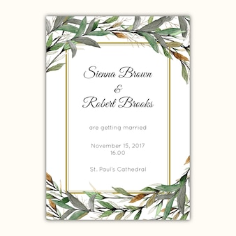 Wedding invitation design with watercolor leaves and branches