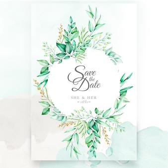 水彩花と葉の結婚式の招待状のデザイン