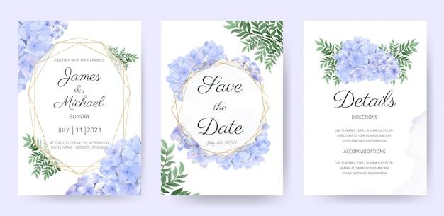 Детали свадебного приглашения сохраните набор дат. красивый акварельный шаблон флоры