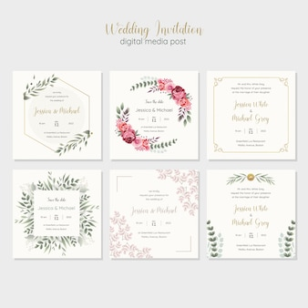 Wedding invitation digital media post template
