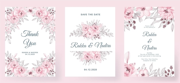 Wedding invitation elegant simple simple with rose pink peach leaf watercolor decoration