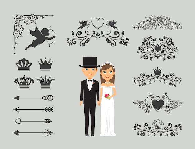 결혼식 초대 요소. 결혼식 장식을위한 화려한 요소.