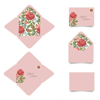 Wedding invitation envelope template with flowers