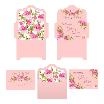 Wedding invitation envelope templates with pink backgrounds