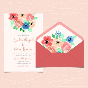 Wedding invitation and envelope with cute floral watercolor