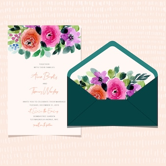 Wedding invitation and envelope with floral watercolor border