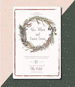 Wedding invitation evergreen leaves and rustic with watercolor