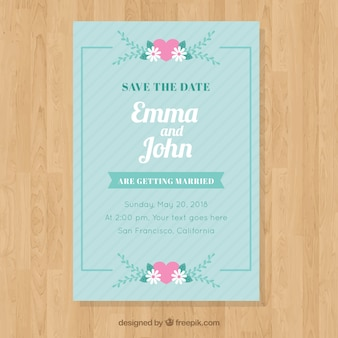 Wedding invitation in flat style