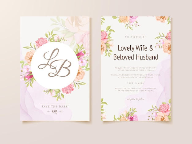 結婚式の招待状の花のコンセプトテンプレートデザイン