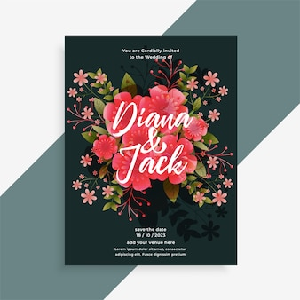 Wedding invitation floral flower decorative card design