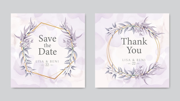 Wedding invitation floral frame template