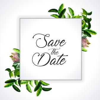 Wedding invitation, floral invite thank you, rsvp modern card design: green tropical palm leaf greenery eucalyptus branches decorative wreath