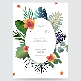 Wedding invitation, floral invite thank you, rsvp modern card design
