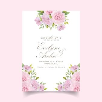 Wedding invitation floral pink carnations