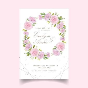 結婚式招待状花ピンクカーネーション