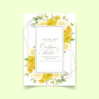 結婚式招待状花バラと水仙