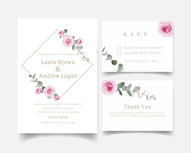 Wedding invitation floral roses and eucalyptus leaf