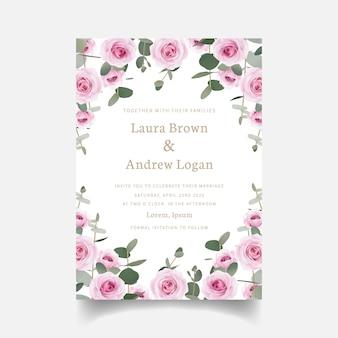 Wedding invitation floral roses and eucalyptus leaf