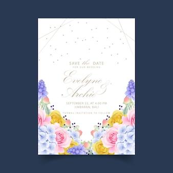 Wedding invitation floral roses and hydrangeas