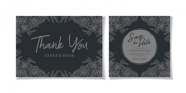 Wedding invitation floral sketch luxury elegant