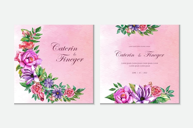 Wedding invitation floral spring pink background watercolor