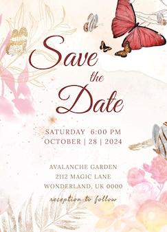 結婚式の招待状の花のテンプレート、美的デザインのベクトル、ヴィンテージのパブリックドメインの画像からリミックス