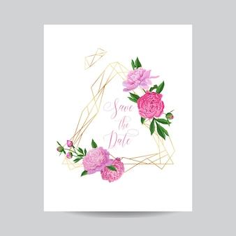 ピンクの牡丹と結婚式の招待状の花のテンプレート。花と日付の幾何学的なゴールデンフレームを保存し、テキストを配置します。グリーティングカード、ポスター、バナー。ベクトルイラスト