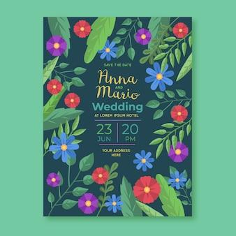 Wedding invitation floral template