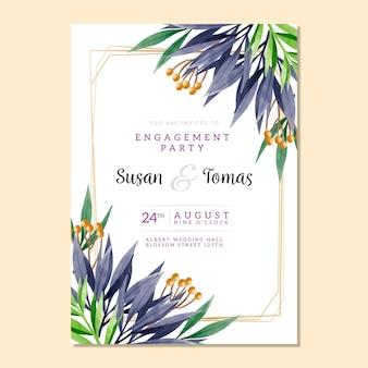 結婚式招待状花のテンプレート
