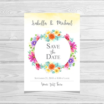 Wedding Invitation Floral Watercolor