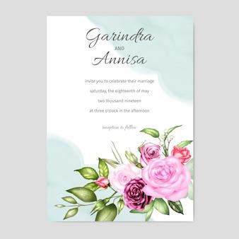 Wedding invitation floral watercolor