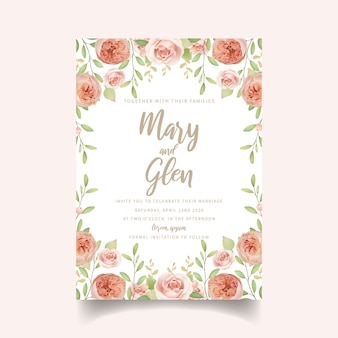 Wedding invitation floral with floral garden roses